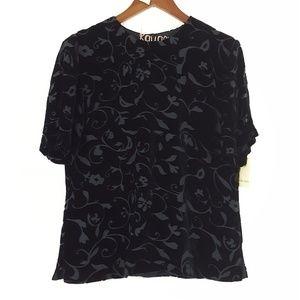 Dana Buchman NWT Silk Blend Velvet Floral Top